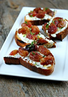 Roasted grapes with thyme, ricotta and grilled bread  Boy that sounds good...