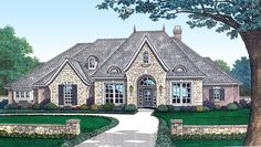Angled Nook Home Plan with Options - 48034FM | European, French Country, Photo Gallery, 1st Floor Master Suite, Bonus Room, Butler Walk-in Pantry, CAD Available, Den-Office-Library-Study, Jack & Jill Bath, MBR Sitting Area, Media-Game-Home Theater, PDF, Split Bedrooms, Corner Lot | Architectural Designs