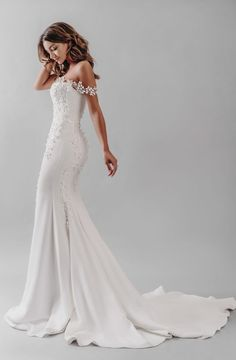 Maternity bridal gowns - Monroe by Stephanie Allin is the most beautiful crepe fishtail gown Monroe is adorned with the softest petals that drape and fall throughout the gown and across the shoulders to create a bardot style Western Wedding Dresses, Dream Wedding Dresses, Bridal Dresses, Wedding Gowns, Bridesmaid Dresses, Prom Dresses, Fall Wedding, Italian Wedding Dresses, Crepe Wedding Dress