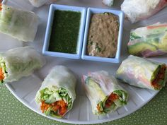 Fresh Vegetable Spring Rolls with Sweet and Savory sauces... I really want to try the sauces