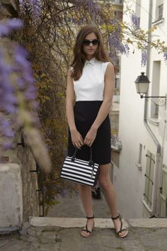Penina dress, Gaby Rayures bag with Robin www.annefontaine.com #annefontaine #spring #summer #fashion #montmartre