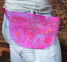 Felted Hip Bag pink violet and orange by feltersjourney on Etsy