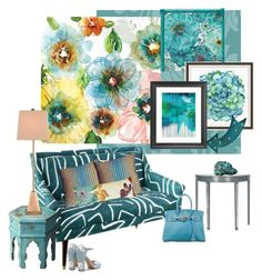"""""""Flower Power and the Teal Sofa..."""" by kimberlyd-2 ❤ liked on Polyvore featuring interior, interiors, interior design, home, home decor, interior decorating, Courtside Market, Pier 1 Imports, Pottery Barn and Graham & Brown"""