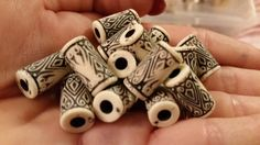 Antique Ivory Corrugated Beads by TheChristianBoutique on Etsy