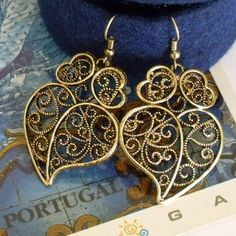 Vintage style Portuguese FOLK hearts gold by HelenaAleixoGlamour, $18.50