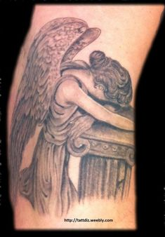 Interest tattoo ideas and design in 2017 - Weepign Angel Tattoo Design. If you want to make a tattoo, look how it looks from other people! Weeping Willow Tattoo, Willow Tree Tattoos, Angel Tattoo Designs, Angel Tattoo Men, Bone Tattoos, Tatoos, Cross Tattoos, Spider Web Tattoo, Memorial Tattoos