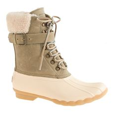 sperry for j.crew shearwater boots - love the cream and army green combo -