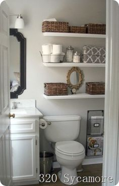 Some great ideas...especially for a small bathroom. And we already have the same shower curtain.