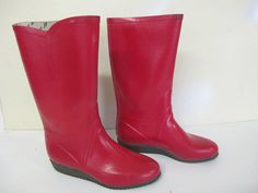 Red Rubber Boots 7 1980 Boots Rain Boots Snow by BelindasStyleShop