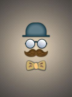 Blue Top Hat Moustache Glasses And Bow Tie Digital Art by Ym Chin
