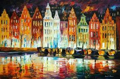 """""""Amsterdam's Panorama"""" by Leonid Afremov ___________________________ Click on the image to buy this painting ___________________________ #art #painting #afremov #wallart #walldecor #fineart #beautiful #homedecor #design"""