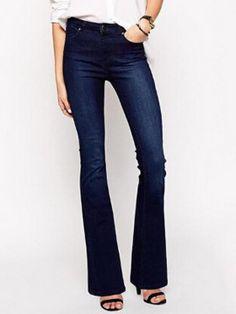 Dark Blue Wash Flared Jeans
