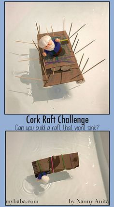 Can you build a raft that would carry a small toy across a bath in this Cork Raft Challenge. Use household items to complete this fun and engaging STEM activity. Stem Activities, Educational Activities, Summer Activities, Raft Building, Building For Kids, Early Years Science, Junk Modelling, Lego Challenge, 4th Grade Science