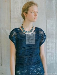 """Photo from album """"Knitting Europe Spring/Summer 2017 on Yandex. Crochet Shirt, Crochet Top, Japanese Crochet, Crochet Magazine, Crochet Books, Summer Patterns, Ladies Boutique, Crochet Clothes, Knit Dress"""
