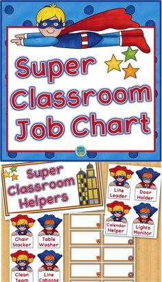 This is a classroom chart for assigning student jobs. The set includes 20 job cards, title card, and student name tags. Classroom Job Chart, Classroom Helpers, Teacher Helper, Classroom Displays, School Classroom, Classroom Organization, Classroom Management, Superhero Classroom Theme, Classroom Themes