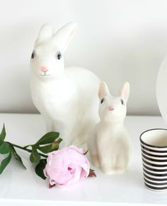 White rabbit night light and coin bank