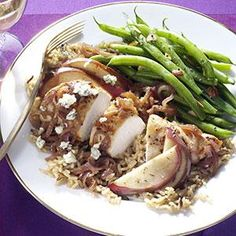 Chicken with Caramelized Pears Recipe -Tender chicken gets an upscale treatment in this simple entree with sweetened pears. Remember this idea—it also works with pork loin chops and thinly sliced apples. —Taste of Home Test Kitchen
