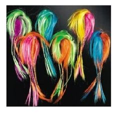 dcbedf2e7a7 Two Tone Neon Hair Attachments 12 ct by Fun Express