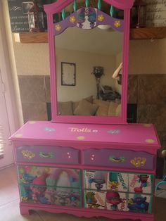 Beautiful Trolls dresser we did using decoupage Imagine Your Furniture is our Facebook page