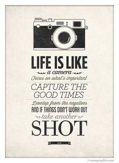 Life Is Like A Camera Vintage Style Typography by NeueGraphic. #inspiration #quote