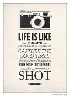 Het leven Is als een Camera Vintage teken van NeueGraphic op Etsy