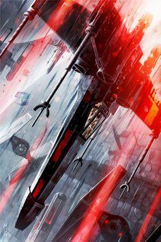 The Final Strike | By: Raymond Swanland (via Pulse Gallery) | #starwars #starwarsfanart #xwing #tiefighter