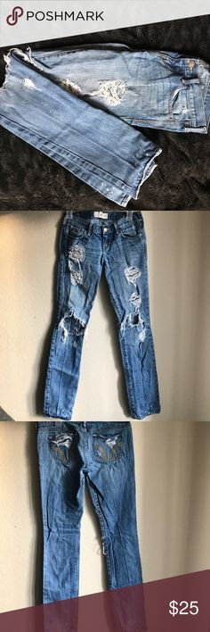Hollister Ripped and faded jean These faded/ ripped jeans are great for a casual everyday look or if you are looking for a retro look  for the New Kids On The Block concert. Jeans were bought with all rips and bleach spots on it. Hollister Jeans Skinny