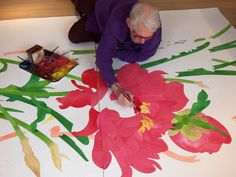 Gary Bukovnik at work on his largest watercolor yet.