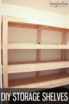 Storage Shelves - Honeybear Lane Look at how simple these diy storage shelves are to make! They make your storage organization a snap.Look at how simple these diy storage shelves are to make! They make your storage organization a snap.
