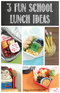 3 Fun School Lunch Ideas! Let's move past the boring ol' PB's and bring fun and nutritious lunches to our kiddos this year! Just in time for Back to School // Happy Food Healthy Life