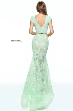 Two Piece Sherri Hill 51013 Green Lace Prom Dress 2017 Sale