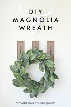 Magnolia leaf wreaths have been catching my eye lately, and they are usually fairly expensive to buy, so I decided to make one of my own. Do it yourself DIY Home Decor Front Door Magnolia Wreath, Magnolia Leaves, Barn Wood Signs, Diy Wreath, Wreath Ideas, Swag Ideas, Wreath Making, Do It Yourself Home, Decoration
