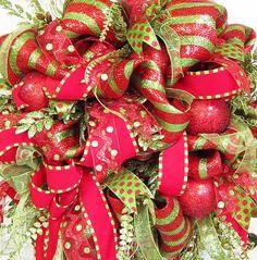 Striking Christmas Holiday Deco Mesh Door Wreath by http://www.LadybugWreaths.com, $249.97