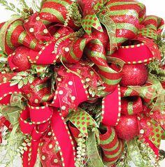 Striking Christmas Holiday Deco Mesh Door Wreath by http://www.LadybugWreaths.com, $249.97