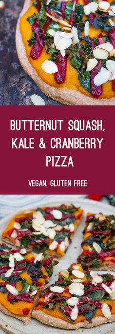 This easy, vegan, gluten free pizza recipe uses butternut squash, kale and cranberry for a delicious winter dinner!