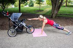 Plank Reach with Stroller