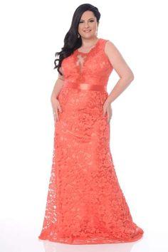 A cor laranja também é tendência, como esse vestido da Fesperamor, todo em renda e marcação na cintu... - Foto: Fesperamor divulgação