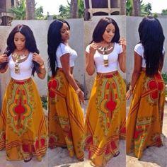 Dashiki / Skirt / African / Print / High / Waist / by Yexilove African Print Dresses, African Wear, African Attire, African Women, African Dress, African Prints, African Style, African Fabric, African Dashiki