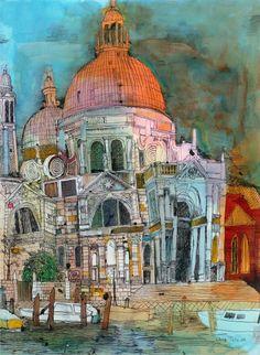 Santa Maria della Salute fine art print by Chris Tate Venice Image, Modern Art, Contemporary Art, Building Art, A Level Art, Urban Sketching, Santa Maria, Collage Art, New Art