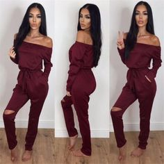 2df69e6ed85 New 2019 Women Summer Jumpsuits Long Sleeve Slash Neck Off Shoulder Sexy  Jumpsuit Rompers Female Streetwear