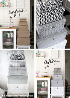 Cute DIY Storage Boxes Diy Storage Boxes, Craft Storage, Storage Room, Fabric Storage, Paper Storage, Storage Containers, Diy Projects To Try, Home Projects, Shadow Box