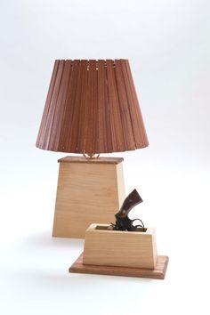 Hidden Gun Compartment in Wooden Lamp