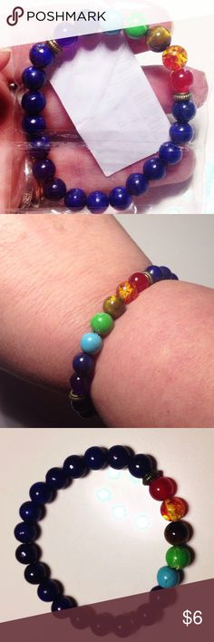Genuine Gemstone Beaded Bracelet + Free Gift 🎁 GENUINE Multiple - Natural Gemstone Beaded Stone Bracelet   Main stone : Lapis Lazuli (infamous amazing royal blue natural Gemstone)   With Purple Amethyst , Aqua Turquoise, #tigers eye & much more ! These are spiritual beaded bracelets to bring health, wealth, happiness + clear decision making  Pic #2 my 8 inch wrist . I have large wrist due to RA. Still fits, feels comfy- band still has much more stretch so can fit even larger wrist…
