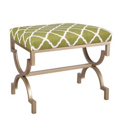 Metal Frame Ottoman, Green, White, and Gold