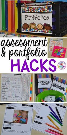 Organization HACKS to make student portfolios and assessments easier. For preschool, pre-k, and kindergarten. Organisation Hacks, Organizing Hacks, Teacher Organization, Teacher Desks, Teacher Binder, Teacher Tips, Teacher Resources, Preschool Rooms, Preschool Curriculum