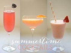 3 summertime cocktails - blackberry gin sparkler, sweet nectarine kiss and spiked strawberry slushy.