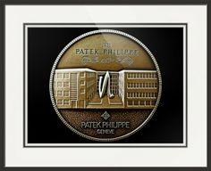 "Patek Philippe Geneve Commemorative Medal Coin (Front) // Paper: enhanced matte; Glazing: acrylic; Moulding: black, florentine black loft; Top Mat: white/cream, canvas; Middle Mat: black/gray, raven; Bottom Mat: white/cream, canvas // Price starts at $162 (Petite: 18.75"" x 20.75""). // Customize at http://www.imagekind.com/Patek-Philippe-Geneve-PPG_art?IMID=5cad76ca-2632-4430-9e1b-71f73e27c714"