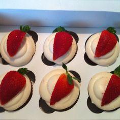 Homemade organic strawberry cupcakes!