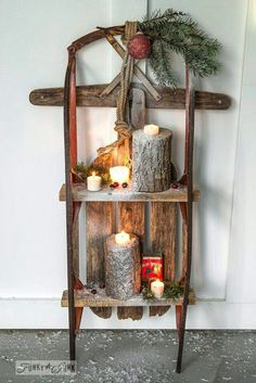 2 – Junkers Unite with a Christmas snow sleigh shelf - winter decor Christmas Sled, Pallet Christmas, Country Christmas, Christmas Projects, Winter Christmas, All Things Christmas, Christmas Ideas, Cabin Christmas Decor, Rustic Christmas Crafts