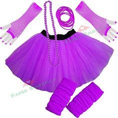 Ladies Neon Tutu Skirt, Legwarmers, Gloves 5 piece set (UK 8-14, Purple)